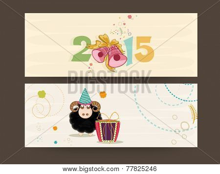 Website header or banner design for Chinese New Year 2015 celebrations decorated with jingle bells and sheep.