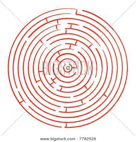 Round Red Maze Against White