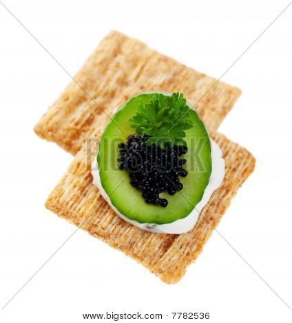 Cool Cucumber And Caviar Cracker