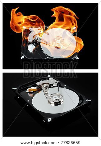 Opened external hard drive on fire. Hard disk failure. Data loss concept, computer crash.