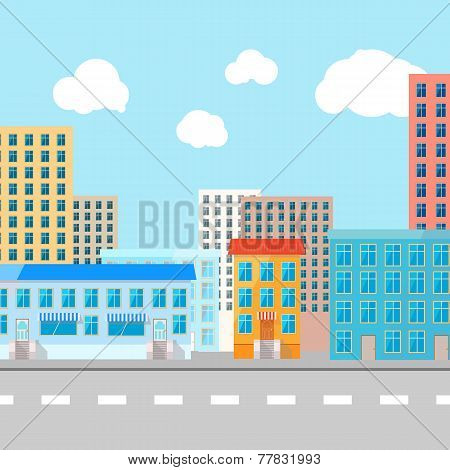 Color vector flat illustration of city