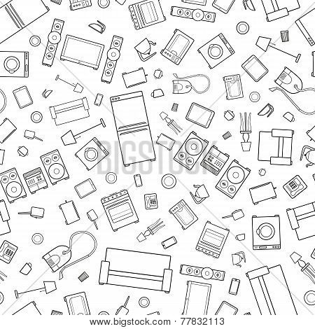 mess of outline icons house appliance seamless pattern