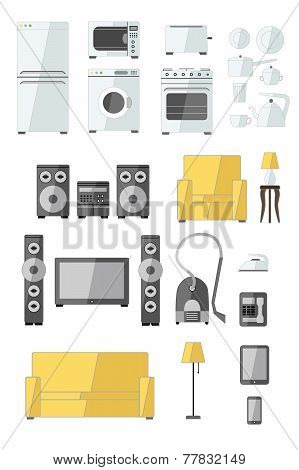 Set of household appliances flat colourful icons with a washing machine stove fridge speaker iron mi