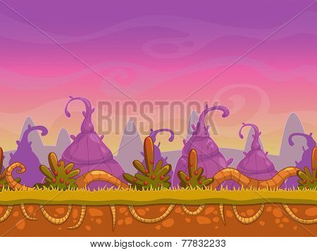 Seamless cartoon fantasy landscape