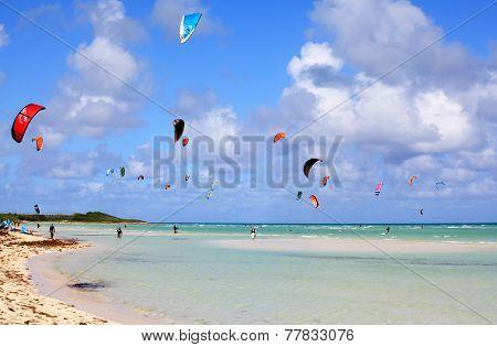 Kitesurfing on the coast of Cuba. Cayo Guillermo in Atlantic Oce