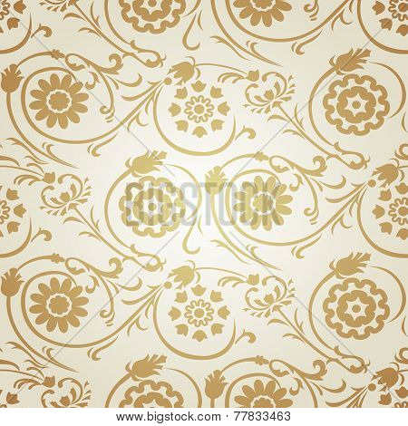 Decorative seamless gold pattern in ottoman motif