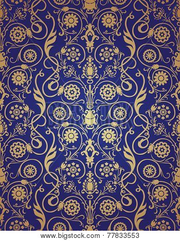 Vector seamless gold and blue pattern in Victorian style.
