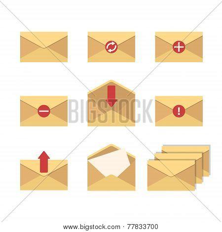 Basic Flat Icon Set Of Envelopes