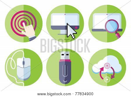 Information resource devices icon set