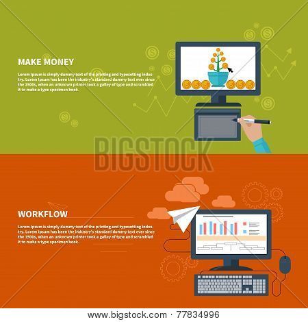 Make money and workflow business concept
