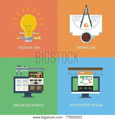 Idea, design, web development, workflow icons set