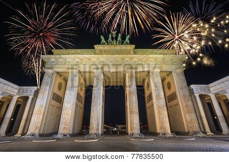 Fireworks at Berlin Brandenburg Gate
