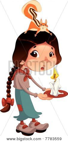 Young girl with squirrel and candle.