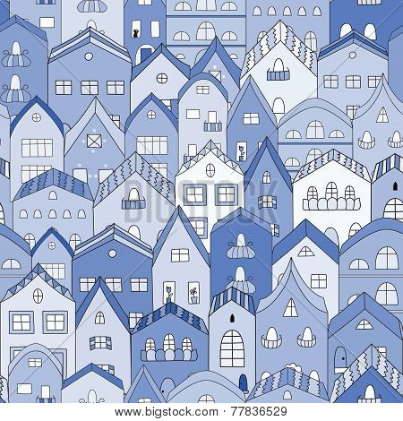 Night town full of houses seamless pattern.
