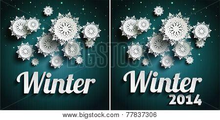 Snowflakes over night dark sky