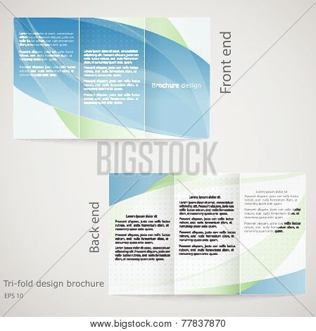 Tri-fold Brochure Design. Brochure Template Design In Shades Of Blue And Green
