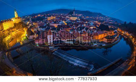 Cesky Krumlov Evening Panorama