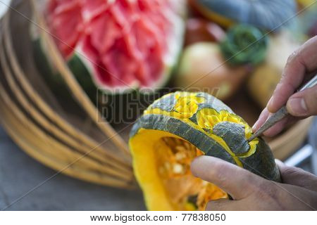 Thai carving fruit