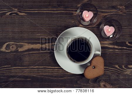 Coffee And Cake In The Shape Of A Heart