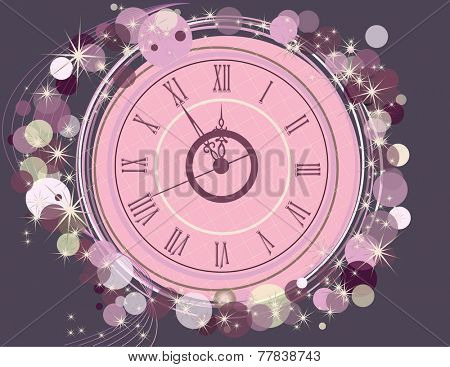 Happy New Year  background  with clock