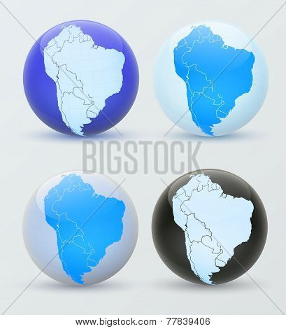 South America On A Globe. 3D Globe South America