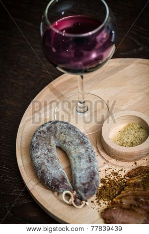 Meat Fillet Sausage And Red Wine