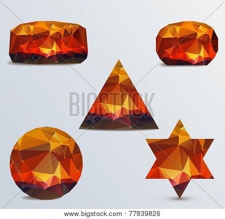 Set of geometric stones on a light background