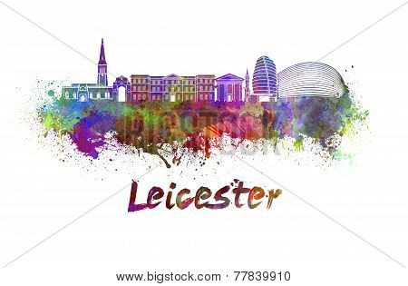 Leicester Skyline In Watercolor