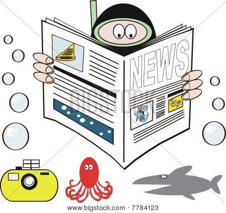 Skindiver newspaper cartoon