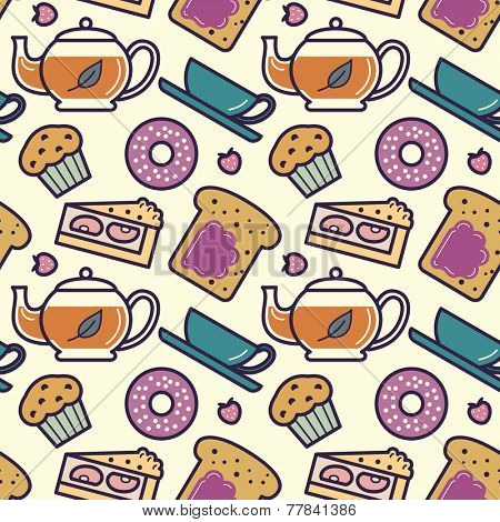 Breakfast or tea party menu food and drinks seamless pattern. Raster illustration.