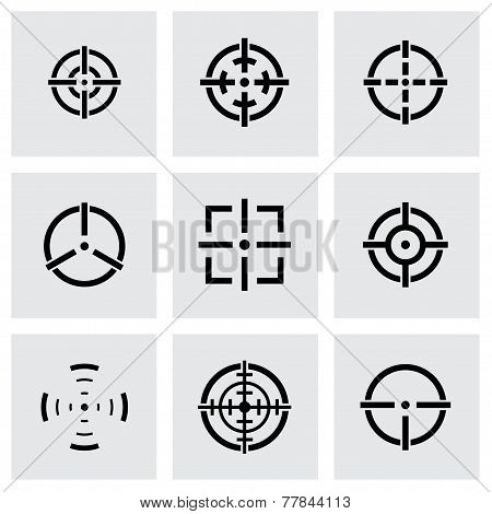 Vector black crosshair icon set