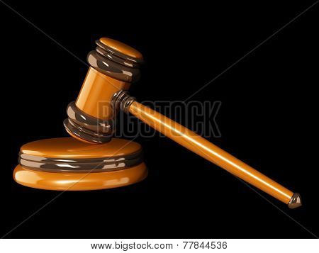 Symbol of justice - judicial 3d gavel. Object isolated on black background