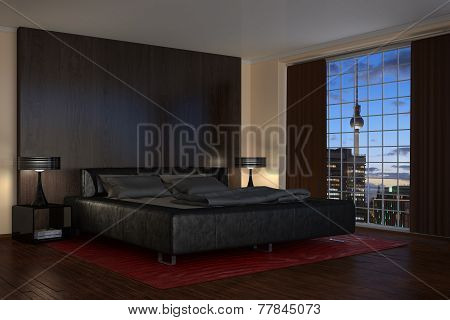 Modern Bedroom - Hotel Room - Night