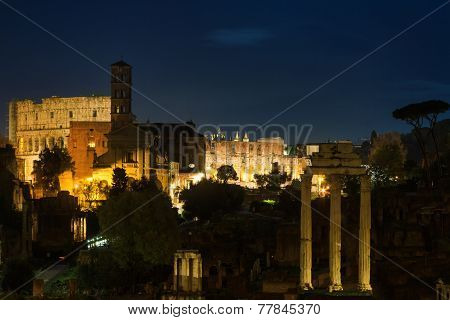 View Over The Forum Romanum At Night