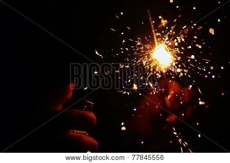 Girl Hand, Holding A Burning Sparkler
