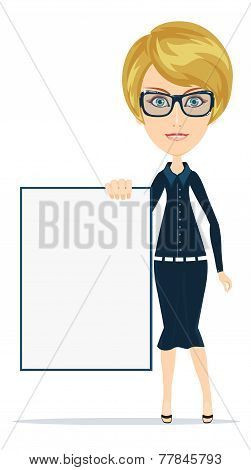 Cartoon teacher or businesswoman explaining and pointing at blank white board, placard.