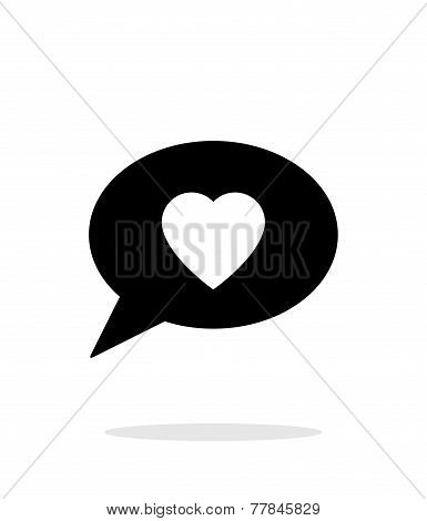 Speech bubble with heart icon on white background.