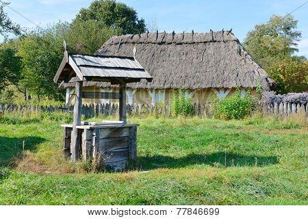 old wooden well in the Ukrainian village
