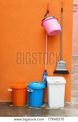 Colourful cleaning equipment.