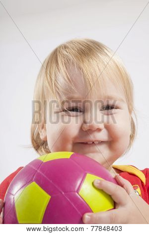 Smiling Baby With Soccer Ball