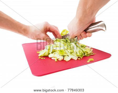 Hands Cutting Fresh Green Lettuce Salad With Grey Metal Knife On Red Plastic Cutting Board Towards W