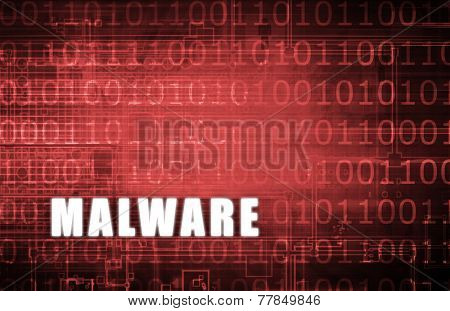 Malware on a Digital Binary Warning Abstract