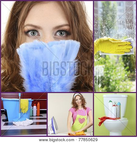 Clean concept. Young housewife cleaning supplies and tools collage