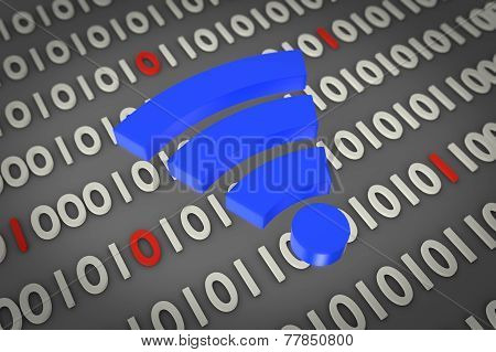 blue wifi icon on digital background
