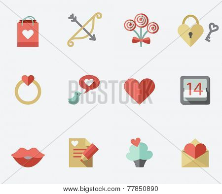 St. Valentine's Day icons, flat design