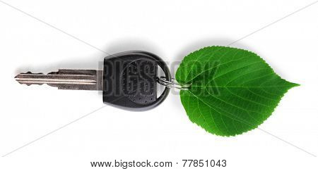 Car key with green leaf trinket isolated on white