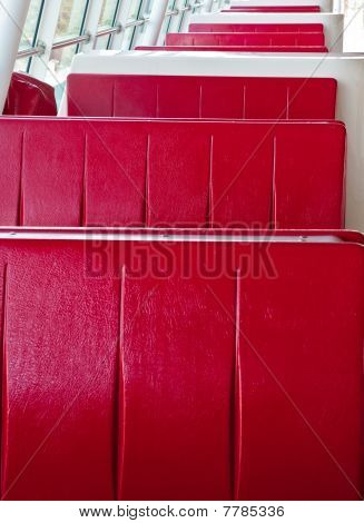 Red Booths In Restaurant