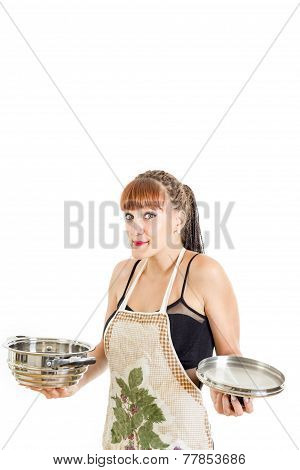 Lovely Housewife In Apron Trying To Cook
