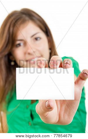 Woman Or Girl In Green Shirt Holding In Hand Bussiness Card Against White