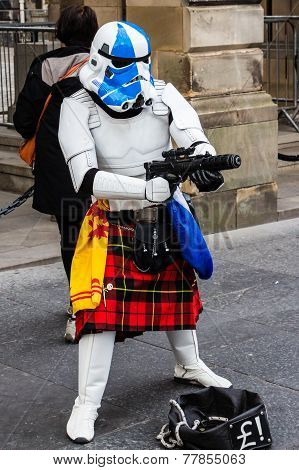 Street Performer Disguised As A Kilted Star Wars Stormtrooper